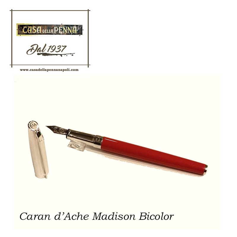 Madison bicolor red & silver - penna stilografica CARAN D'ACHE