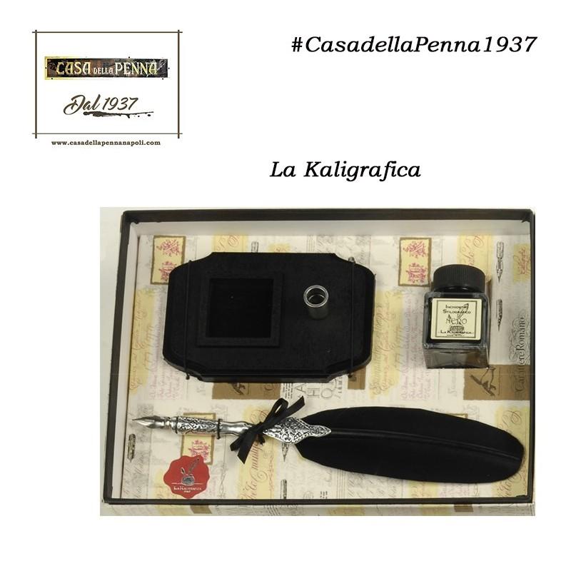penna stilografica con piuma nera e base legno- LA KALIGRAFICA - 336