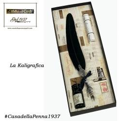 penna stilografica con piuma e poggino stivale- LA KALIGRAFICA - 7225