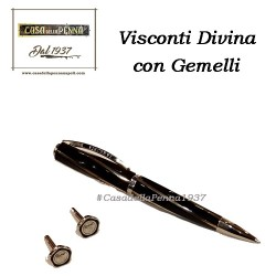VISCONTI DIVINA Black Medium con Gemelli - set penna sfera Offerta