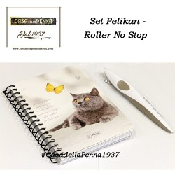 set PELIKAN penna roller No Stop cartucce + quadernino