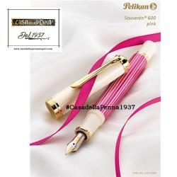 PELIKAN Souveran 600 Pink & White - penna stilografica/sfera OFFERTA