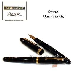 Omas Ogiva Lady celluloide nero e oro - mini penna roller + refill omaggio o stilo