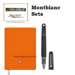 Montbanc - Set M ultra black penna sfera + blocco note #145 Lucky Orange - 117085