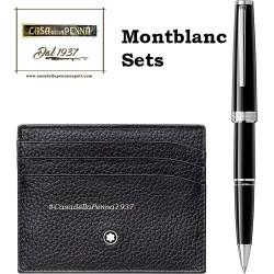 Montbanc - Set Meisterstuck Soft Grain nero - roller Pix e porta carte di credito tascabile a 6 scomparti - 117088