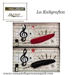 set penna stilografica con piuma e base con chiave di violino  - La Kaligrafica art. 1054